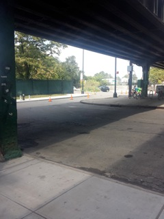 Valets cone off public street portion of Dyckman Street even before noon on Sept 23, 2014